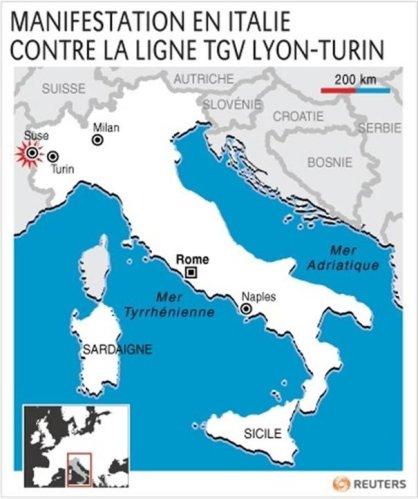MANIFESTATION EN ITALIE CONTRE LA LIGNE TGV LYON-TURIN