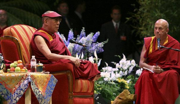 Tibetan spiritual leader Dalai Lama attends a a public conference in Nantes