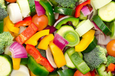 Chopped mixed raw vegetable background