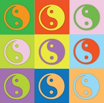 Farbiges Yin Yang