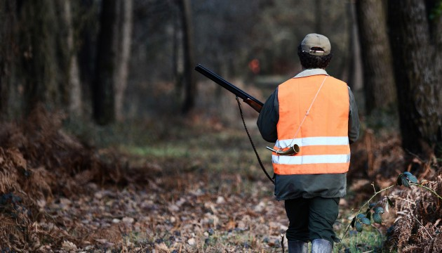 A hunter wears an orange safety jacket during a big game hunting on February 14, 2015 in La Chapelle-Glain, western France. With 1.3 million of hunters, France remains the first country in Europe for wildlife management. AFP PHOTO / JEAN-SEBASTIEN EVRARD