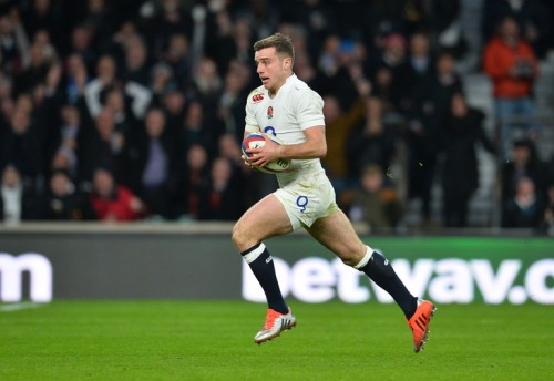 England's fly half George Ford runs in to score England's fourth try during the Six Nations international rugby union match between England and France at Twickenham Stadium, south west of London, on March 21, 2015. AFP PHOTO / GLYN KIRK