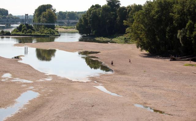 25 août 2016 Tours : le niveau de la Loire et la canicule incitent à la baignade Photo : Hugues Le Guellec