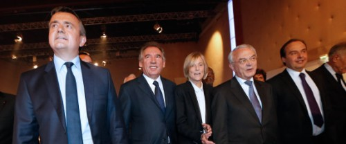 (L to R) French center-right UDI party interim president Yves Jego (L), French centrist Democratic Movement (MoDem) president Francois Bayrou, chief candidate for the Ile-de-France region and Modem vice-President Marielle de Sarnez, chief candidate for the French West region senator Jean Arthuis and UDI MP Jean-Christophe Lagarde arrive at a centrist UDI-MODEM coalition rally ahead of the Europeans elections, on May, 2014, in La Plaine-Saint-Denis, near Paris. AFP PHOTO / THOMAS SAMSON / AFP / THOMAS SAMSON