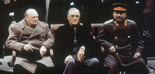FILE - This is a Feb. 4, 1945, file photo of from left, British Prime Minister Winston Churchill, U.S. President Franklin Roosevelt and Soviet Premier Josef Stalin as they sit on the patio of Livadia Palace, Yalta, Crimea. Churchill Britain's famous World War II prime minister died fifty years ago on January 24 1965. (AP Photo/File)/LON105/978483961437/FEB. 4, 1945, FILE PHOTO/1501231359