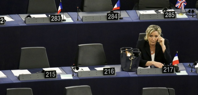 French Front National (National Front - FN) far-right party's President, European MP and presidential candidate for the 2017 election Marine Le Pen takes part in a plenary session of the European Parliament marking the election of its new President in Strasbourg, eastern France, on January 17, 2016. The European Parliament elects a new president today in a vote that promises to be stormy after a coalition aimed at keeping eurosceptics out of power broke down (Photo by Elyxandro Cegarra/NurPhoto)