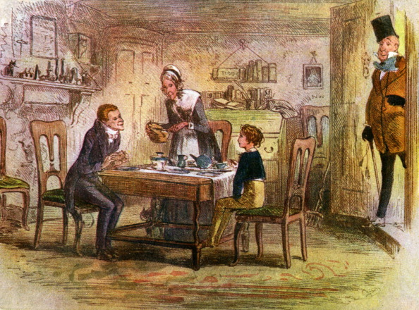 Charles Dickens - David Copperfield (first published 1850). Illustrates scene from chapter 17. After a picture by 'Phiz'.Accompanying text: 'It was Mr. Micawber, with his eye-glass, and his walking-stick, and his shirt-collar, and his genteel air, and the condescending roll in his voice, all complete! - Chapter xvii'. (Photo by Culture Club/Getty Images) *** Local Caption ***