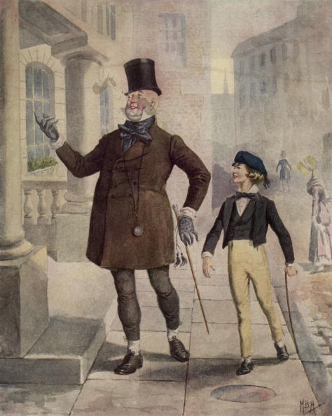 circa 1850: The characters 'Mr Micawber' and 'Young Copperfield' in an illustration from the Charles Dickens novel 'David Copperfield'. (Photo by Hulton Archive/Getty Images)