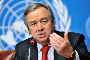 Antonio Guterres, United Nations High Commissioner for Refugees speaks during a press conference at the Launch of the Regional Flash Appeal Following recent events in Libyan Arab Jamahiri