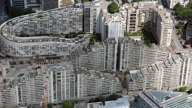 This aerial picture taken on July 14, 2009 shows appartment buildings in the western Paris suburb.    AFP PHOTO LOIC VENANCE