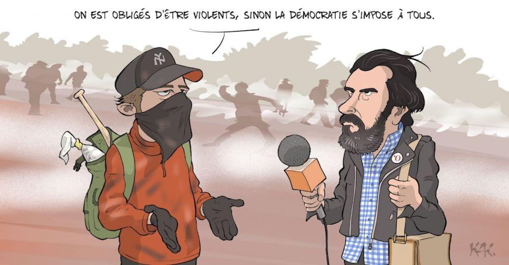 Dessin enrag s conflits sociaux le retour des ultras for Buer dans les fenetre